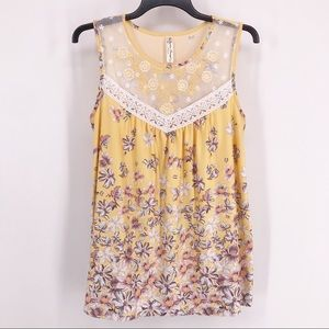 Perseption Concept Yellow Floral Lace Tank